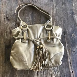 B Makowsky Gold Leather Tassel Shoulder Bag